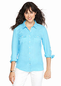 crown & ivy™ beach Petite Colored Tencel Shirt