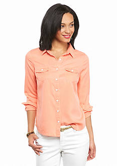 crown & ivy™ beach Petite Colored Tencel Shirt