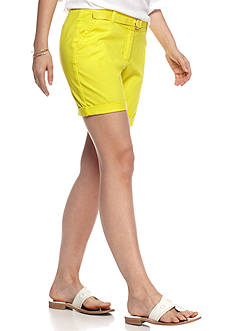 crown & ivy™ Petite Solid Belted Shorts