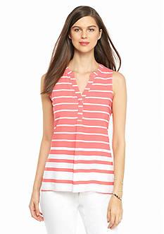 crown & ivy™ Petite Sleeveless Stripe Blouse