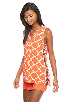 crown & ivy™ Petite Sleeveless Moroccan Medley Peasant Top