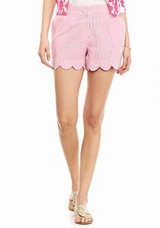 crown & ivy™ Petite Seersucker Scallop Shorts