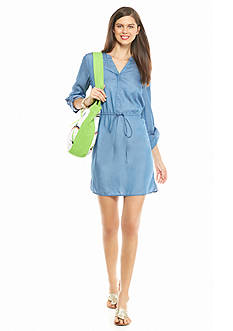crown & ivy™ Petite Tencel® Shirt Dress