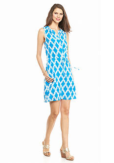 crown & ivy™ Petite Printed Sleeveless Button Front Drawstring Dress