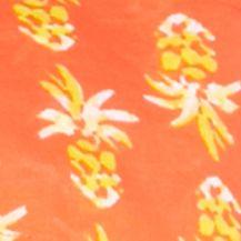 Petite Blouses: Orange/Yellow/White crown & ivy™ beach Petite Smock Neck Printed Top