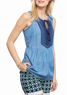 crown & ivy™ Petite Sleeveless Embroidered Chambray Peplum Top