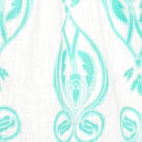 Petite Blouses: Mint/White crown & ivy™ Petite Medallion Print Crochet Inset Peasant Top