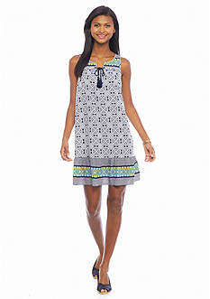 crown & ivy™ Petite Medallion Swing Dress