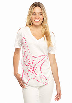 crown & ivy™ beach Petite Starfish Cold Shoulder Tee