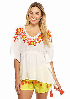 crown & ivy™ beach Petite Embroidered Tassel Poncho