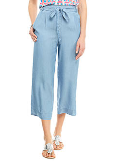 crown & ivy™ Petite Chambray Tencel Crop Pants