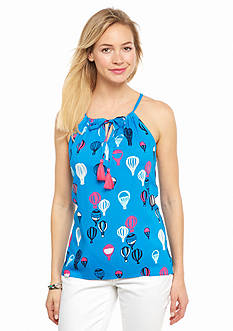 crown & ivy™ Petite Crochet Back Balloon Halter Top