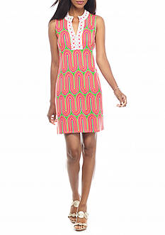 crown & ivy™ Petite Mandarin Crochet Ponte Dress