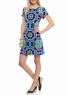 crown & ivy™ Petite Printed Scallop Hem Dress