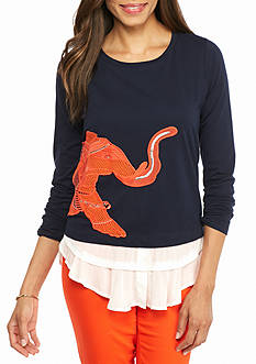 crown & ivy™ Petite Size Embroidered Elephant Swing Sweatshirt