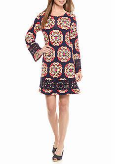 crown & ivy™ Petite Size Crochet Trimmed Swing Dress