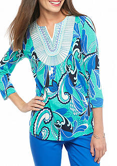 crown & ivy™ Petite Size Paisley Printed Embroidered Top