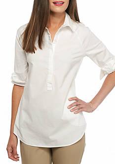crown & ivy™ Petite Size White Pocket Tunic