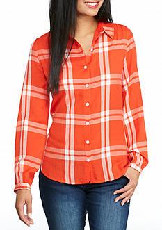 crown & ivy™ Petite Plaid Button Down Shirt