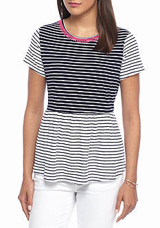 crown & ivy™ Petite Size Striped Knit Peplum Top