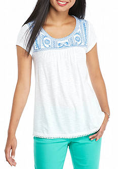 crown & ivy™ Petite Embroidered Yoke Top