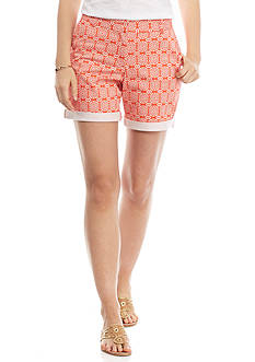 crown & ivy™ Petite Woodblock Long Shorts