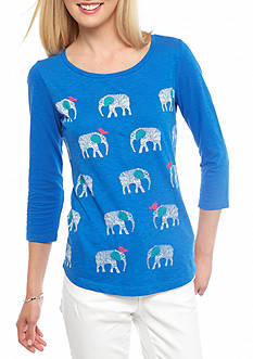 crown & ivy™ Petite Size Elephant and Bird Three-Quarter Sleeve Tee