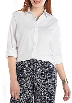 crown & ivy™ Plus Size Classic Button Up Shirt