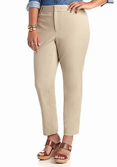crown & ivy™ Plus Size Bi-Stretch Clean Ankle Pant Short Inseam