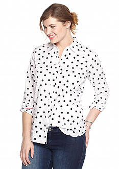 crown & ivy™ Plus Size Scattered Dot Shirt