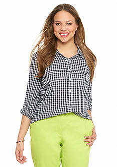 crown & ivy™ Plus Size Go Go Gingham Shirt