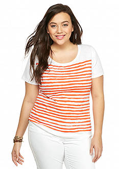crown & ivy™ Plus Size Stripe Crew Neckline Slub Tee