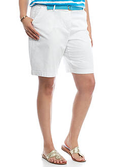 crown & ivy™ Plus Size Solid Belted Shorts