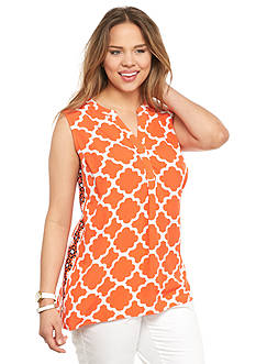 crown & ivy™ Plus Size Sleeveless Moroccan Medley Peasant Top