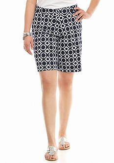 crown & ivy™ Plus Size Lattice Star Long Shorts
