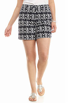 crown & ivy™ Plus Size Pineapple Tiki Twill Short