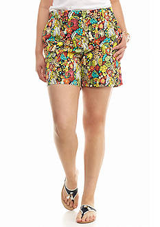 crown & ivy™ Plus Size Monkeying Around Twill Shorts
