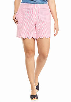 crown & ivy™ Plus Size Seersucker Scalloped Shorts