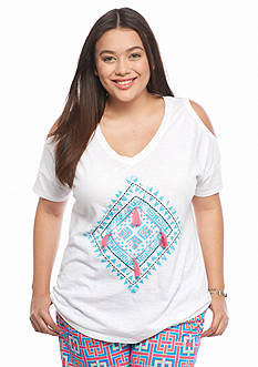 crown & ivy™ beach Plus Size Tile Print Cold Shoulder Tee