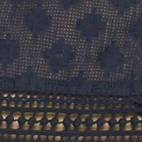 Women's Plus: Crown & Ivy™ Designer: Novel Navy crown & ivy™ Plus Size Crochet Inset Peplum Top