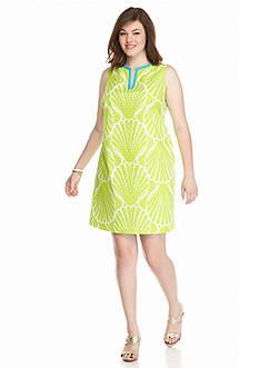 crown & ivy™ Plus Size Printed Eyelet Dress