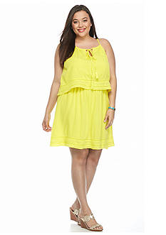 crown & ivy™ Plus Size Gauze Halter Dress