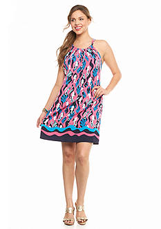 crown & ivy™ Plus Size Seahorse Halter Dress