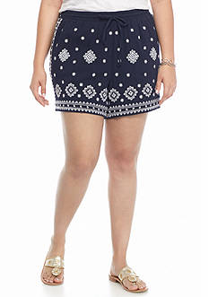 crown & ivy™ Plus Size Embroidered Gauze Soft Shorts