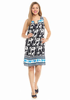 crown & ivy™ Plus Size Elephant Swing Dress