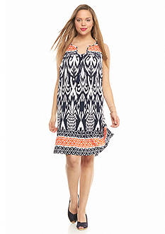 crown & ivy™ Plus Size Ikat Swing Dress