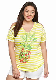 crown & ivy™ beach Plus Size Pineapple Print Cold Shoulder Tee