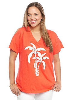 crown & ivy™ beach Plus Size Palm Tree Cold Shoulder Tee