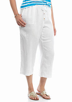crown & ivy™ beach Plus Size Linen Capris