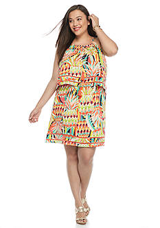 crown & ivy™ Plus Size Pineapple Print Halter Dress